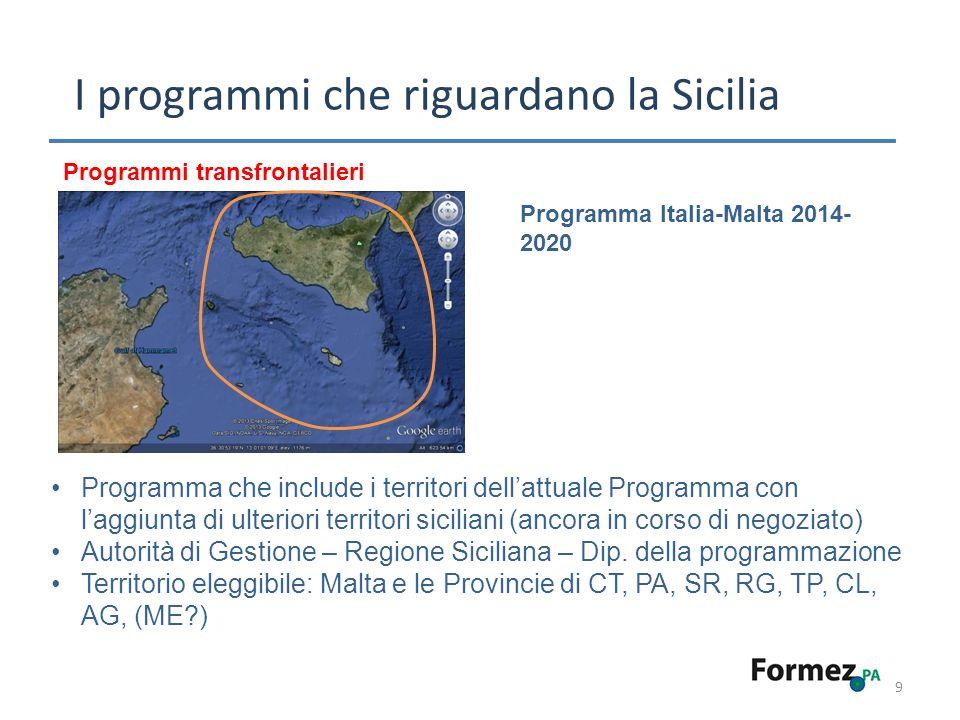 9 I programmi che riguardano la Sicilia Programmi transfrontalieri Programma Italia-Malta 2014- 2020 Programma che include i territori dellattuale Programma con laggiunta di ulteriori territori siciliani (ancora in corso di negoziato) Autorità di Gestione – Regione Siciliana – Dip.
