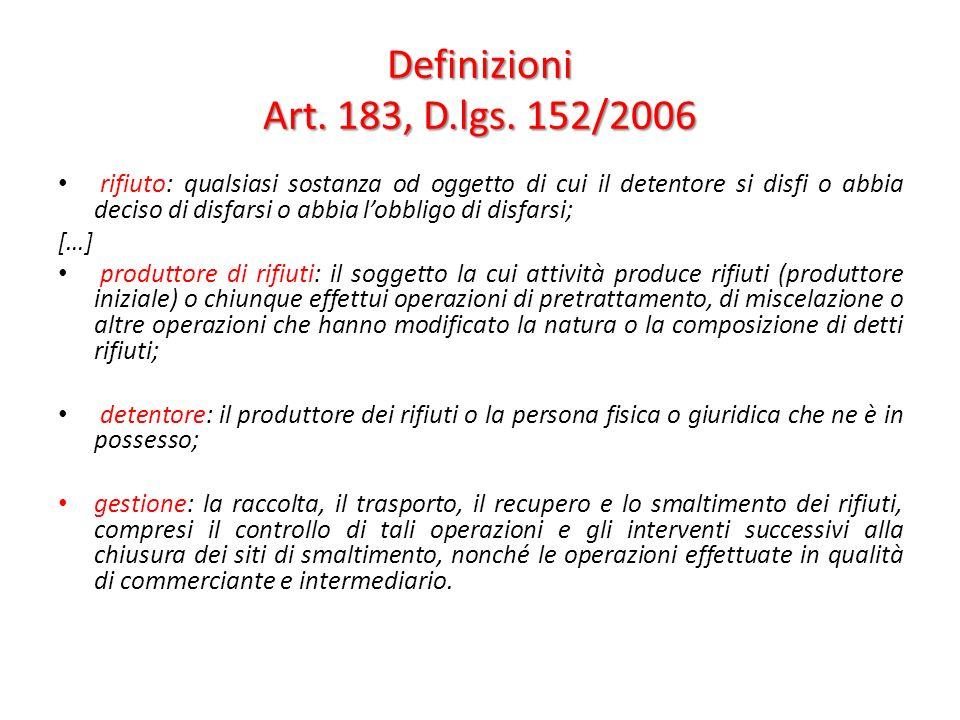 Definizioni Art. 183, D.lgs. 152/2006 rifiuto: qualsiasi sostanza od oggetto di cui il detentore si disfi o abbia deciso di disfarsi o abbia lobbligo