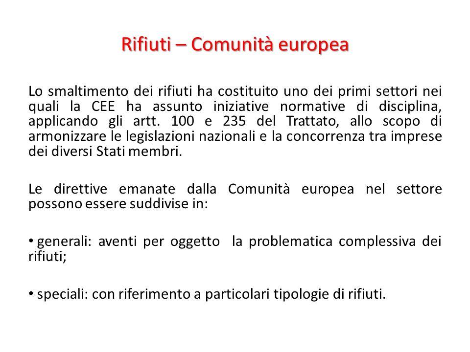 Rifiuti – Comunità europea Lo smaltimento dei rifiuti ha costituito uno dei primi settori nei quali la CEE ha assunto iniziative normative di disciplina, applicando gli artt.