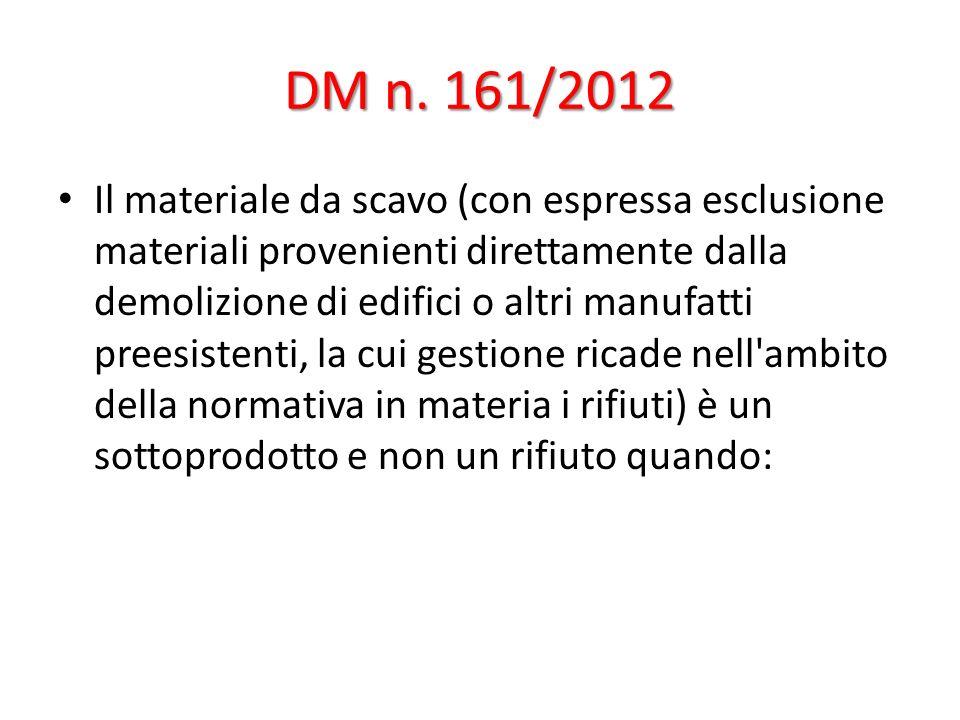 DM n. 161/2012 Il materiale da scavo (con espressa esclusione materiali provenienti direttamente dalla demolizione di edifici o altri manufatti preesi