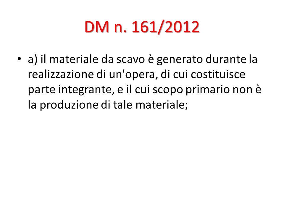 DM n. 161/2012 a) il materiale da scavo è generato durante la realizzazione di un'opera, di cui costituisce parte integrante, e il cui scopo primario
