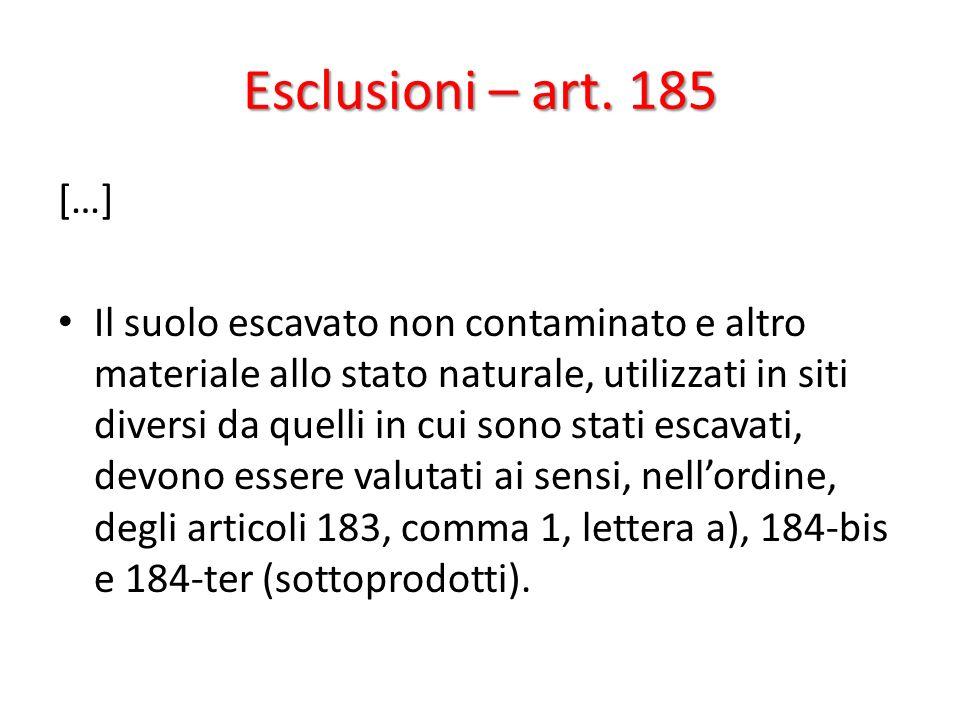 Esclusioni – art. 185 […] Il suolo escavato non contaminato e altro materiale allo stato naturale, utilizzati in siti diversi da quelli in cui sono st
