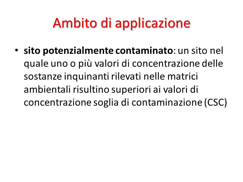 Ambito di applicazione sito potenzialmente contaminato: un sito nel quale uno o più valori di concentrazione delle sostanze inquinanti rilevati nelle