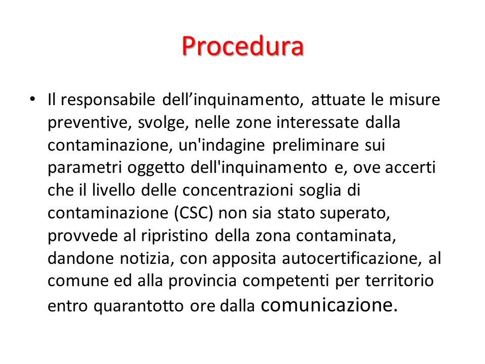 Procedura Il responsabile dellinquinamento, attuate le misure preventive, svolge, nelle zone interessate dalla contaminazione, un'indagine preliminare
