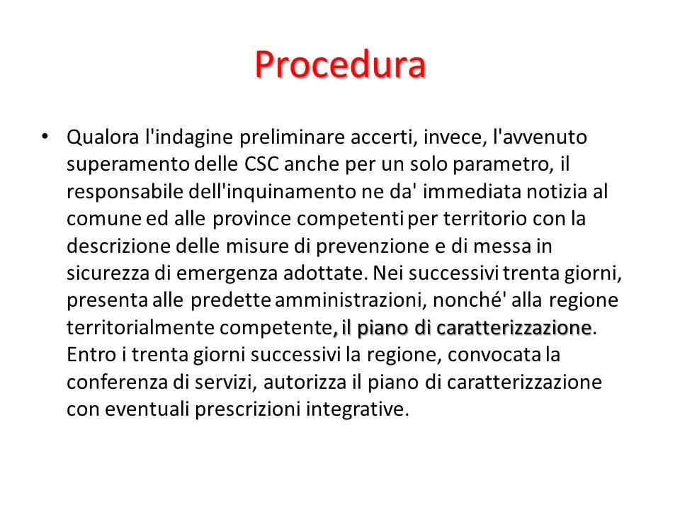 Procedura, il piano di caratterizzazione Qualora l'indagine preliminare accerti, invece, l'avvenuto superamento delle CSC anche per un solo parametro,