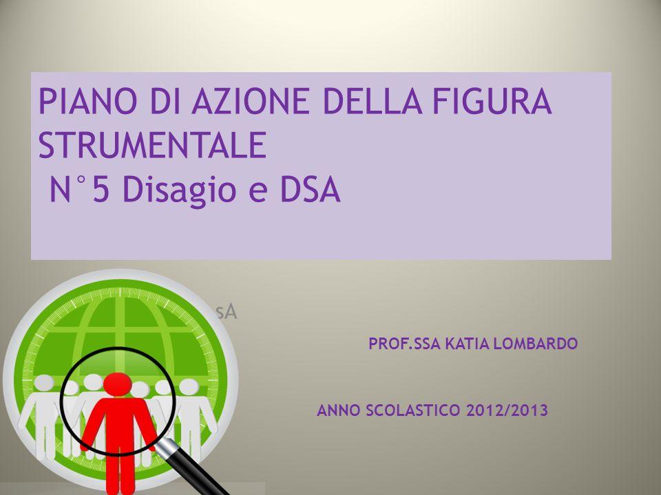 PIANO DI AZIONE DELLA FIGURA STRUMENTALE N°5 Disagio e DSA PPaNNO sA PROF.SSA KATIA LOMBARDO ANNO SCOLASTICO 2012/2013