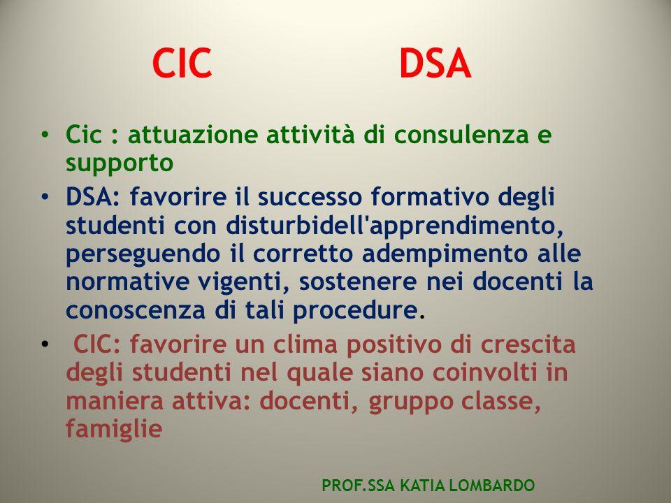 CIC DSA Cic : attuazione attività di consulenza e supporto DSA: favorire il successo formativo degli studenti con disturbidell apprendimento, perseguendo il corretto adempimento alle normative vigenti, sostenere nei docenti la conoscenza di tali procedure.