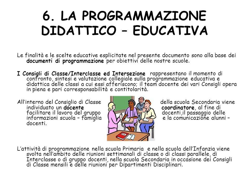 6. LA PROGRAMMAZIONE DIDATTICO – EDUCATIVA Le finalità e le scelte educative esplicitate nel presente documento sono alla base dei documenti di progra
