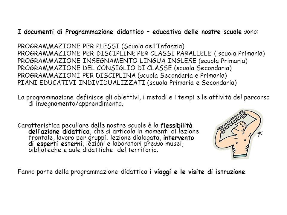 I documenti di Programmazione didattico – educativa delle nostre scuole sono: PROGRAMMAZIONE PER PLESSI (Scuola dellInfanzia) PROGRAMMAZIONE PER DISCI