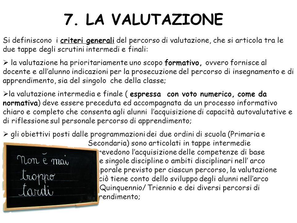 7. LA VALUTAZIONE Si definiscono i criteri generali del percorso di valutazione, che si articola tra le due tappe degli scrutini intermedi e finali: l
