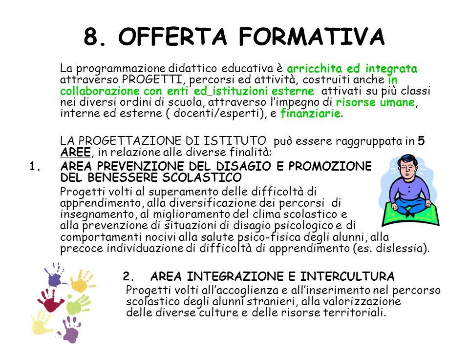 8. OFFERTA FORMATIVA La programmazione didattico educativa è arricchita ed integrata attraverso PROGETTI, percorsi ed attività, costruiti anche in col