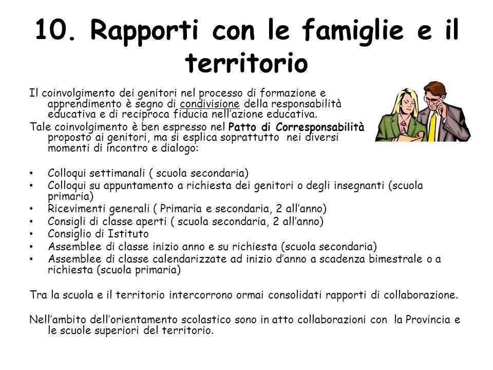 10. Rapporti con le famiglie e il territorio Il coinvolgimento dei genitori nel processo di formazione e apprendimento è segno di condivisione della r