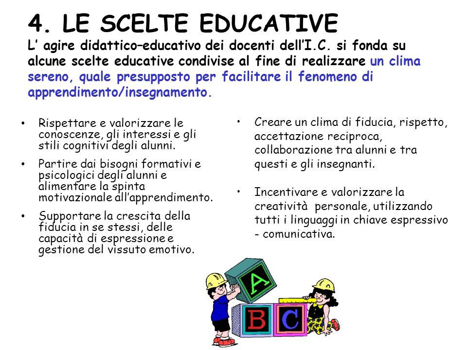 4. LE SCELTE EDUCATIVE L agire didattico–educativo dei docenti dellI.C. si fonda su alcune scelte educative condivise al fine di realizzare un clima s
