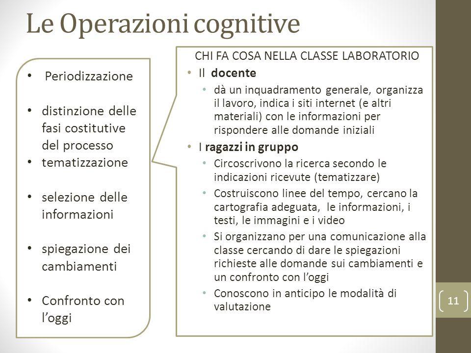 Le Operazioni cognitive CHI FA COSA NELLA CLASSE LABORATORIO Il docente dà un inquadramento generale, organizza il lavoro, indica i siti internet (e a