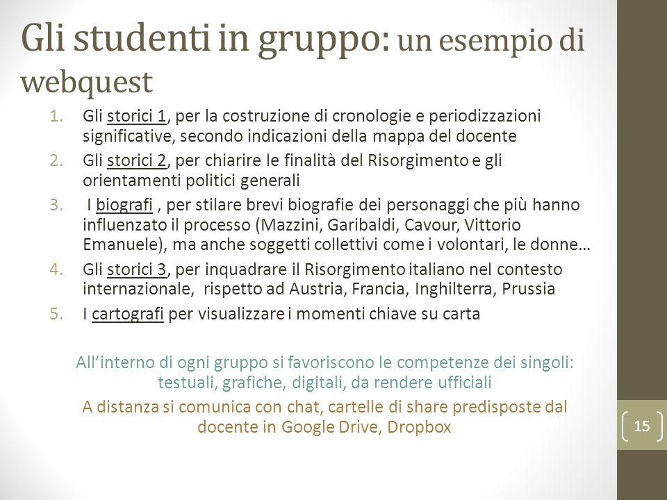 Gli studenti in gruppo: un esempio di webquest 1.Gli storici 1, per la costruzione di cronologie e periodizzazioni significative, secondo indicazioni