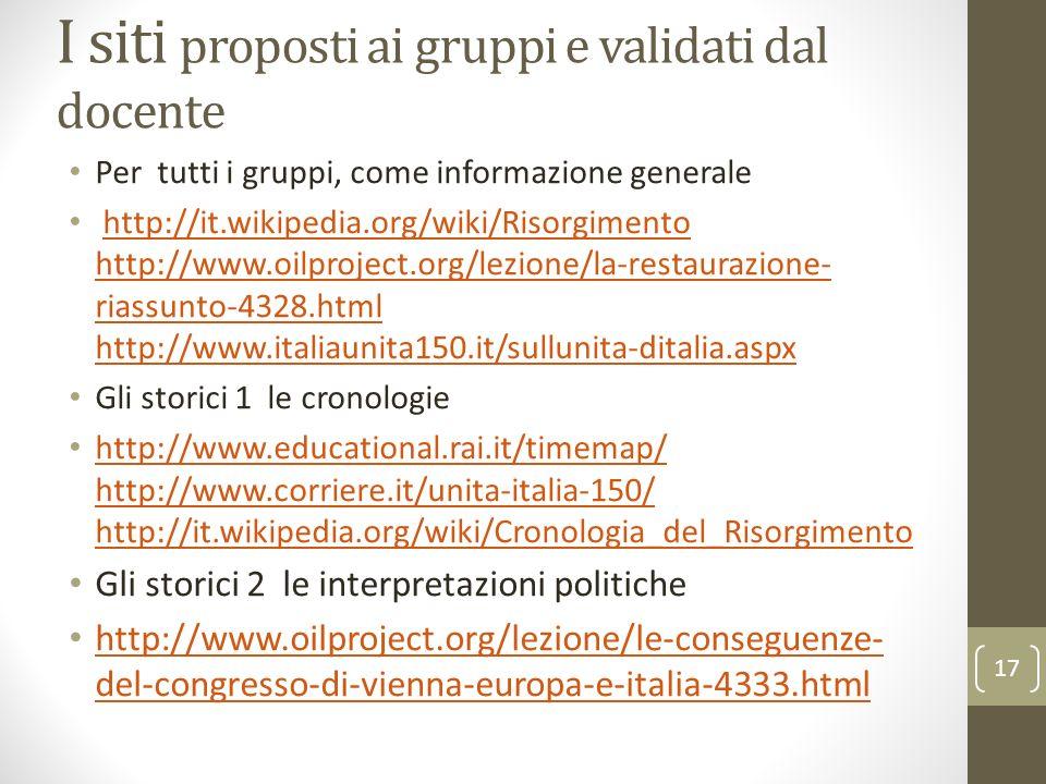 I siti proposti ai gruppi e validati dal docente Per tutti i gruppi, come informazione generale http://it.wikipedia.org/wiki/Risorgimento http://www.o