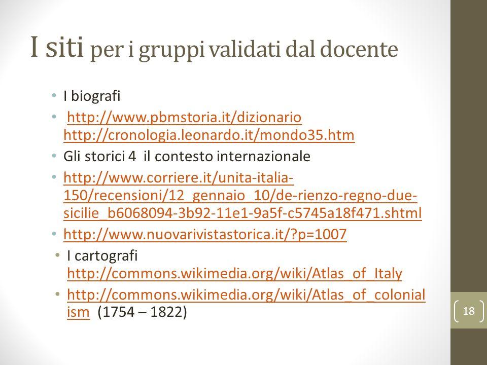 I siti per i gruppi validati dal docente I biografi http://www.pbmstoria.it/dizionario http://cronologia.leonardo.it/mondo35.htmhttp://www.pbmstoria.i