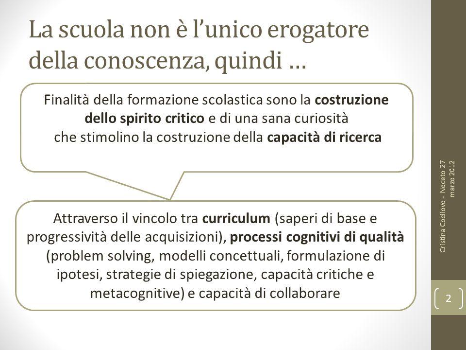 La scuola non è lunico erogatore della conoscenza, quindi … Cristina Cocilovo - Noceto 27 marzo 2012 2 Finalità della formazione scolastica sono la co