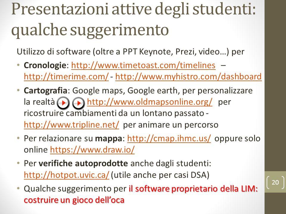 Presentazioni attive degli studenti: qualche suggerimento Utilizzo di software (oltre a PPT Keynote, Prezi, video…) per Cronologie: http://www.timetoa