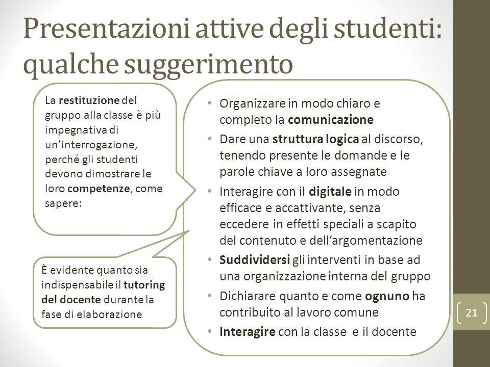 Presentazioni attive degli studenti: qualche suggerimento Organizzare in modo chiaro e completo la comunicazione Dare una struttura logica al discorso