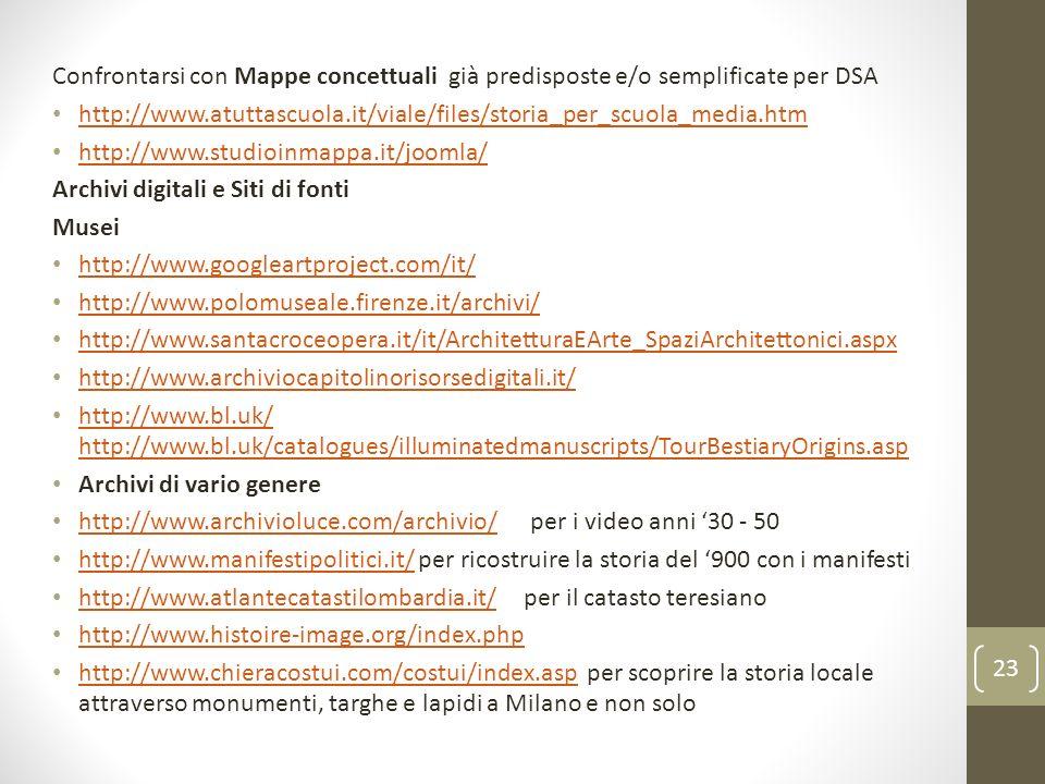 Confrontarsi con Mappe concettuali già predisposte e/o semplificate per DSA http://www.atuttascuola.it/viale/files/storia_per_scuola_media.htm http://