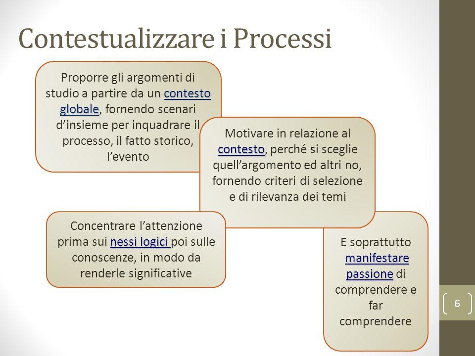 Contestualizzare i Processi 6 contesto globale Proporre gli argomenti di studio a partire da un contesto globale, fornendo scenari dinsieme per inquad