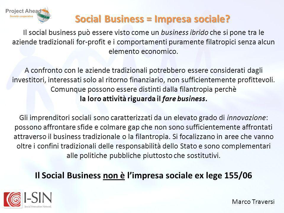 Marco Traversi Social Business = Impresa sociale? Il social business può essere visto come un business ibrido che si pone tra le aziende tradizionali