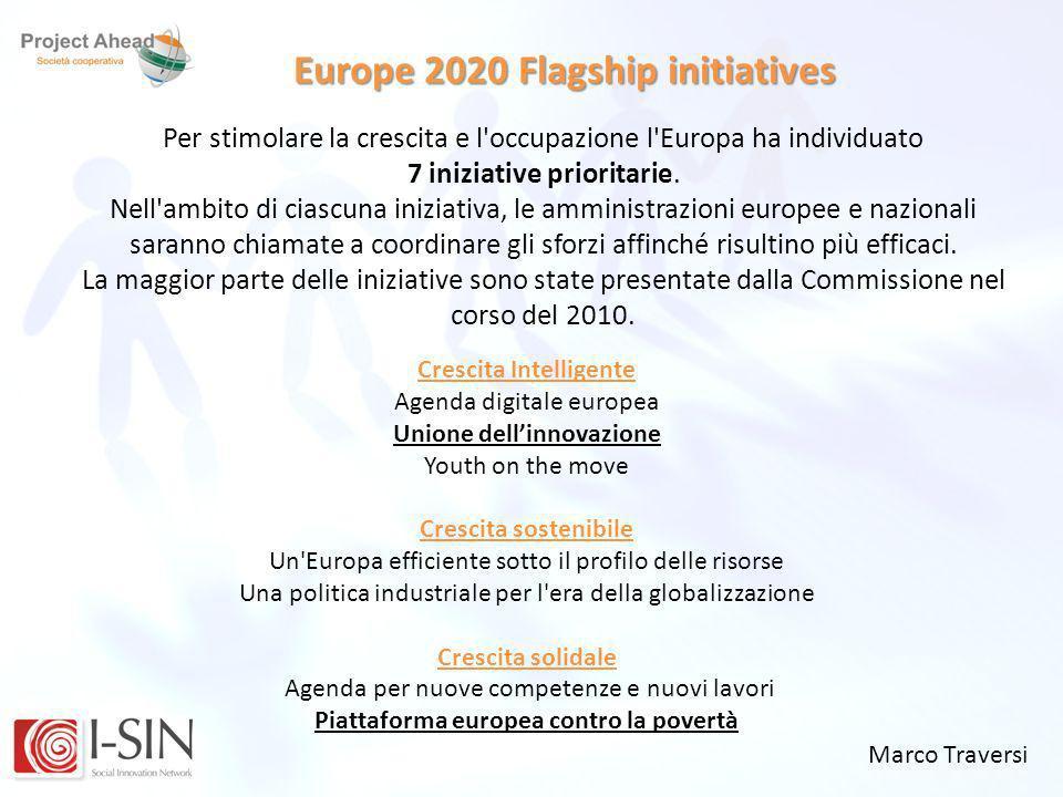 Marco Traversi Europe 2020 Flagship initiatives Per stimolare la crescita e l'occupazione l'Europa ha individuato 7 iniziative prioritarie. Nell'ambit