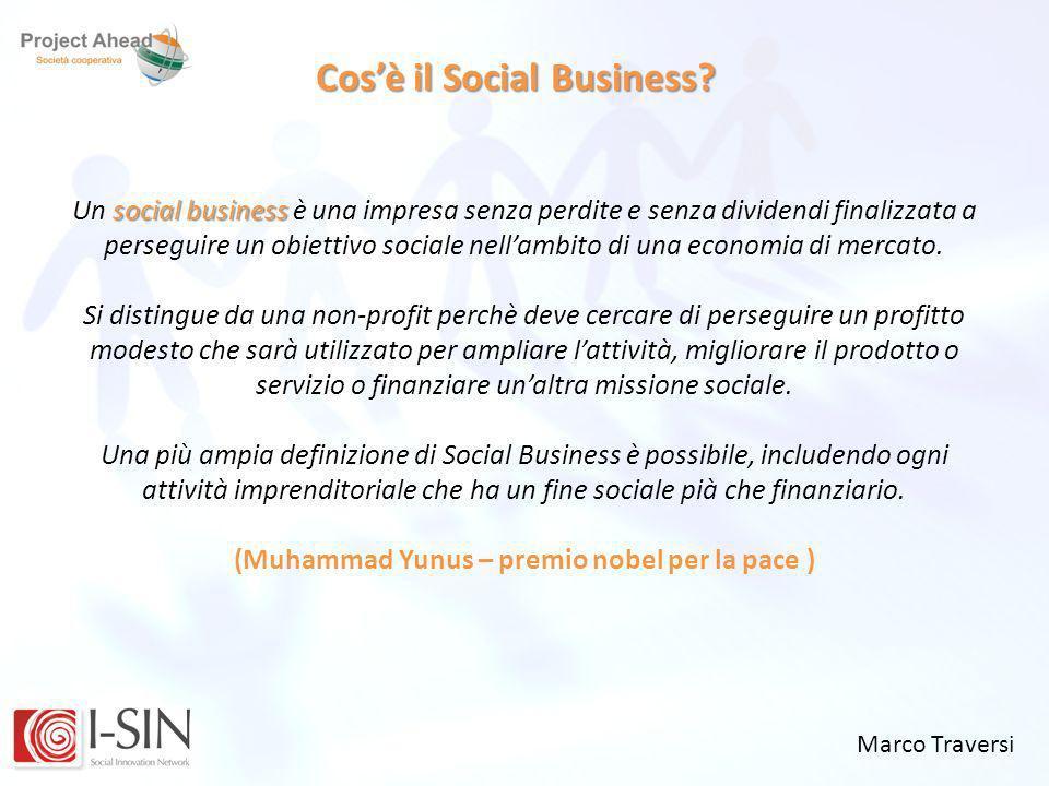Marco Traversi Cosè il Social Business? social business Un social business è una impresa senza perdite e senza dividendi finalizzata a perseguire un o