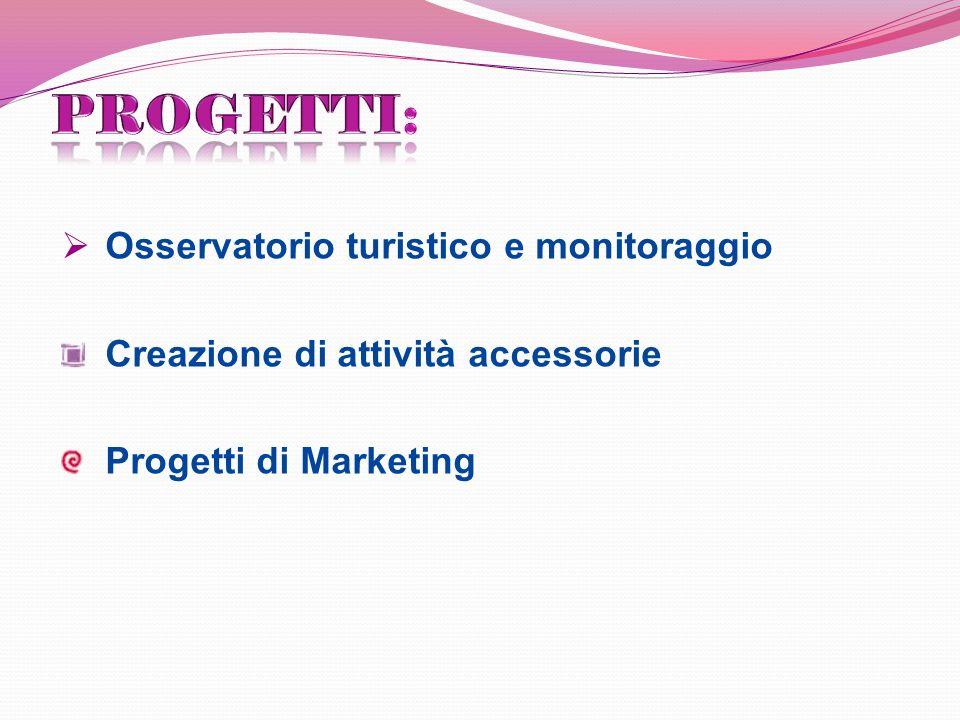Osservatorio turistico e monitoraggio Creazione di attività accessorie Progetti di Marketing