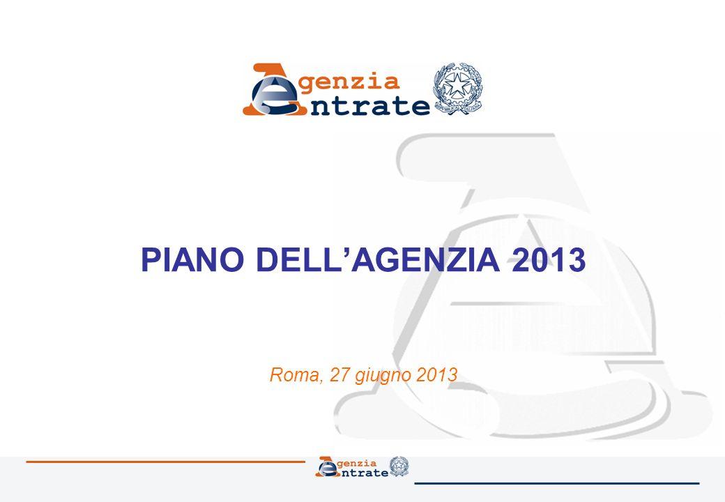 PIANO DELLAGENZIA 2013 Roma, 27 giugno 2013