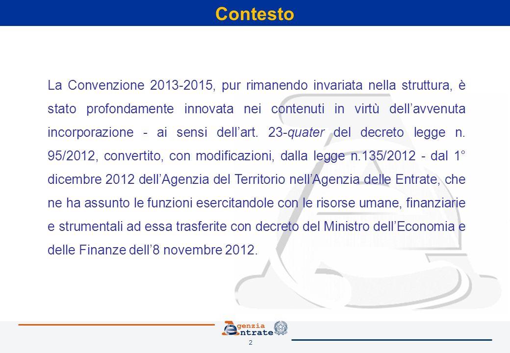 2 Contesto La Convenzione 2013-2015, pur rimanendo invariata nella struttura, è stato profondamente innovata nei contenuti in virtù dellavvenuta incorporazione - ai sensi dellart.