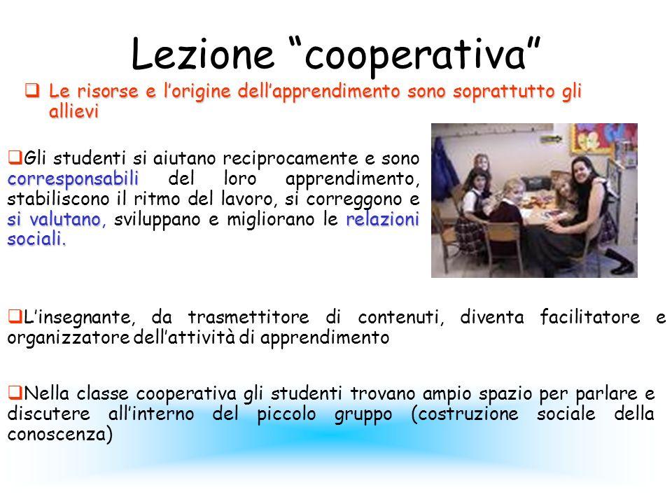 Lezione cooperativa Le risorse e lorigine dellapprendimento sono soprattutto gli allievi Le risorse e lorigine dellapprendimento sono soprattutto gli