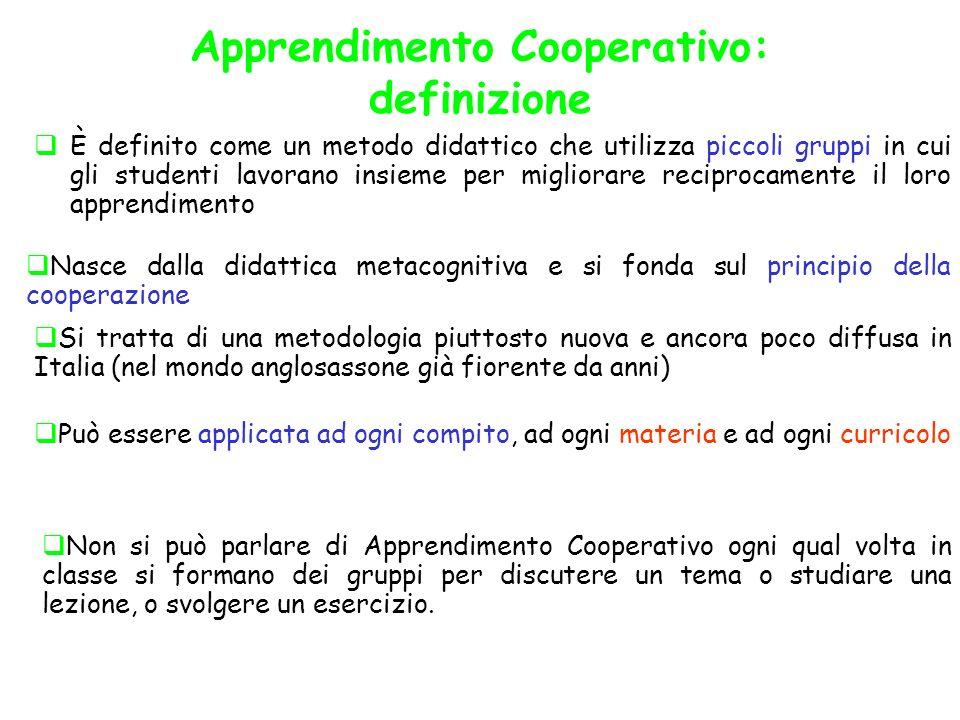 Apprendimento Cooperativo: definizione È definito come un metodo didattico che utilizza piccoli gruppi in cui gli studenti lavorano insieme per miglio