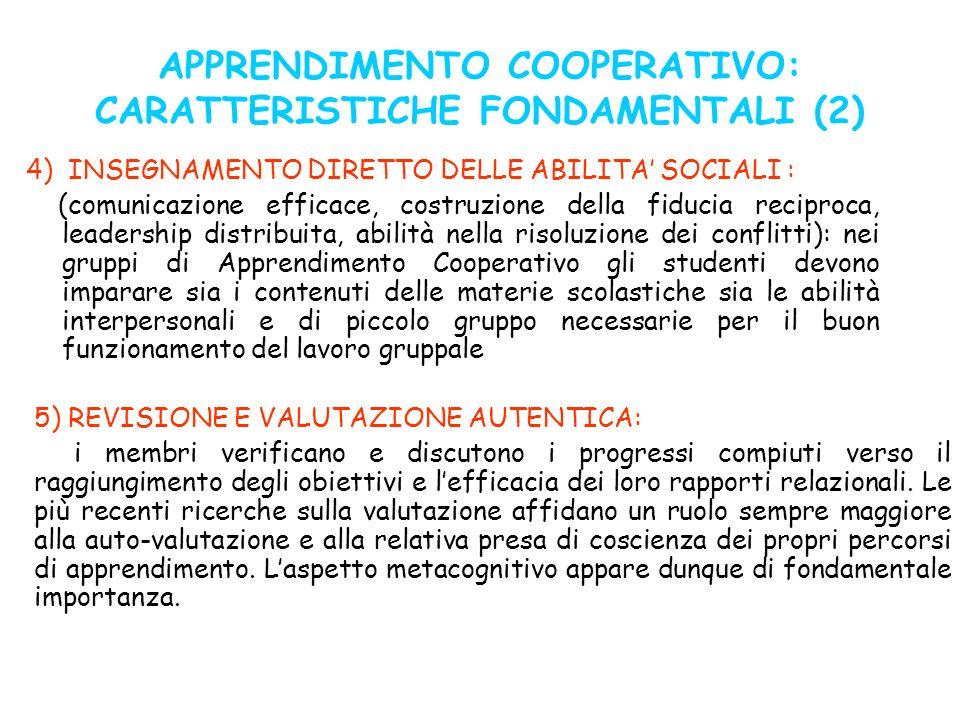 APPRENDIMENTO COOPERATIVO: CARATTERISTICHE FONDAMENTALI (2) 4) INSEGNAMENTO DIRETTO DELLE ABILITA SOCIALI : (comunicazione efficace, costruzione della