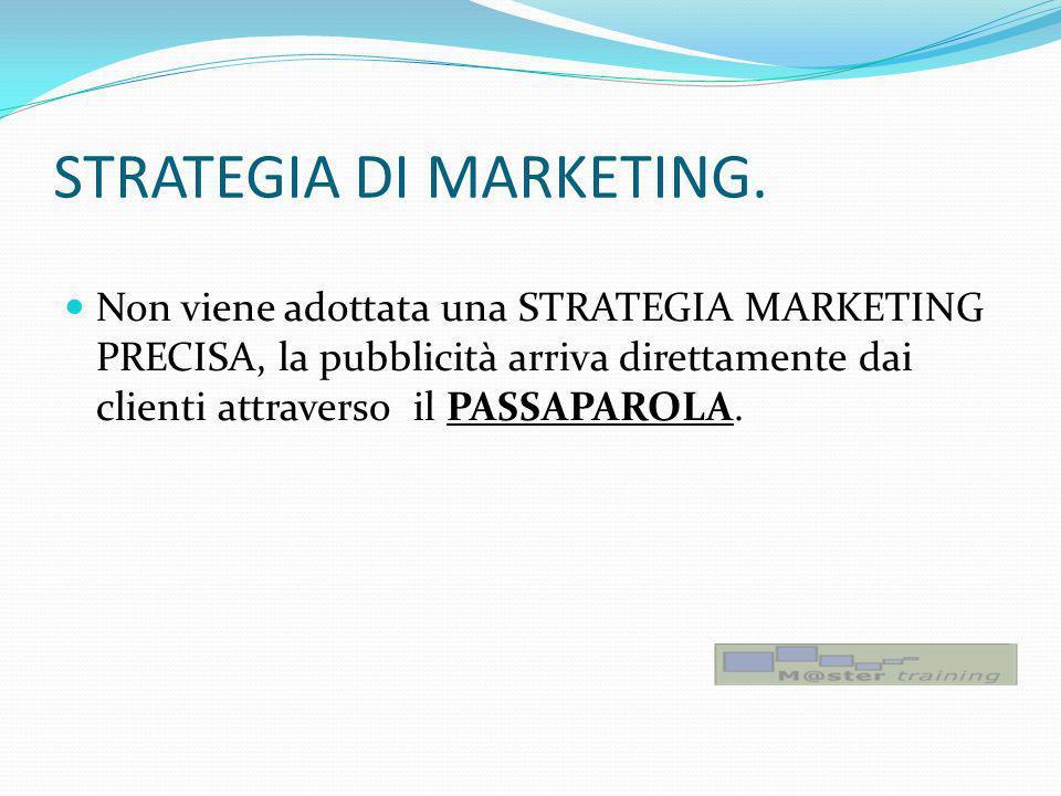 STRATEGIA DI MARKETING. Non viene adottata una STRATEGIA MARKETING PRECISA, la pubblicità arriva direttamente dai clienti attraverso il PASSAPAROLA.