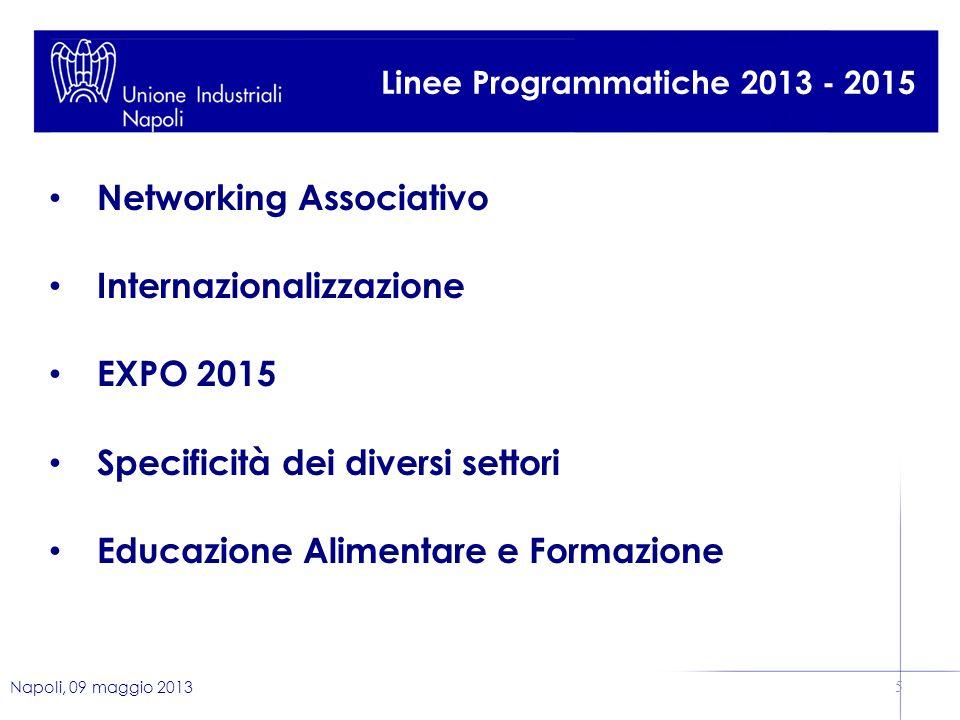Napoli, 09 maggio 2013 5 Linee Programmatiche 2013 - 2015 Networking Associativo Internazionalizzazione EXPO 2015 Specificità dei diversi settori Educazione Alimentare e Formazione