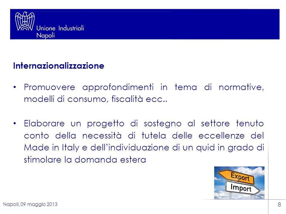 Napoli, 09 maggio 2013 8 Internazionalizzazione Promuovere approfondimenti in tema di normative, modelli di consumo, fiscalità ecc..