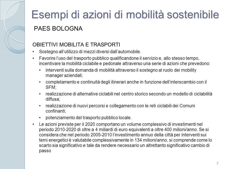 Esempi di azioni di mobilità sostenibile PAES BOLOGNA OBIETTIVI MOBILITA E TRASPORTI Sostegno allutilizzo di mezzi diversi dallautomobile.