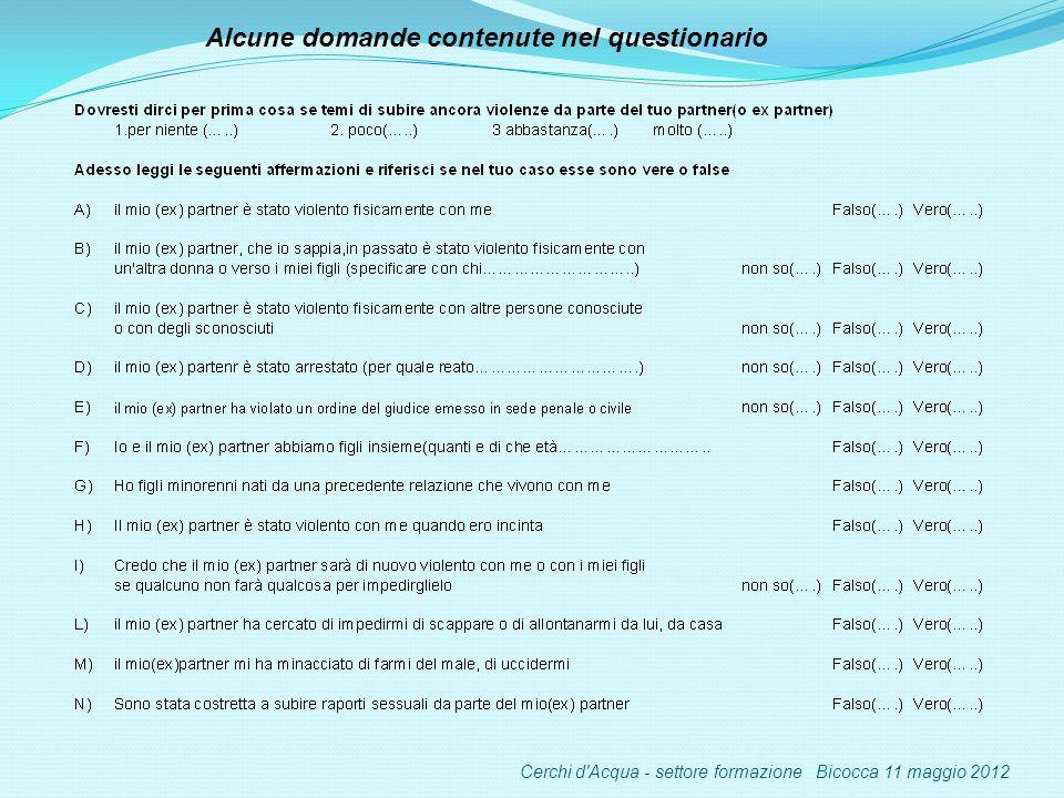 Alcune domande contenute nel questionario Cerchi d Acqua - settore formazione Bicocca 11 maggio 2012