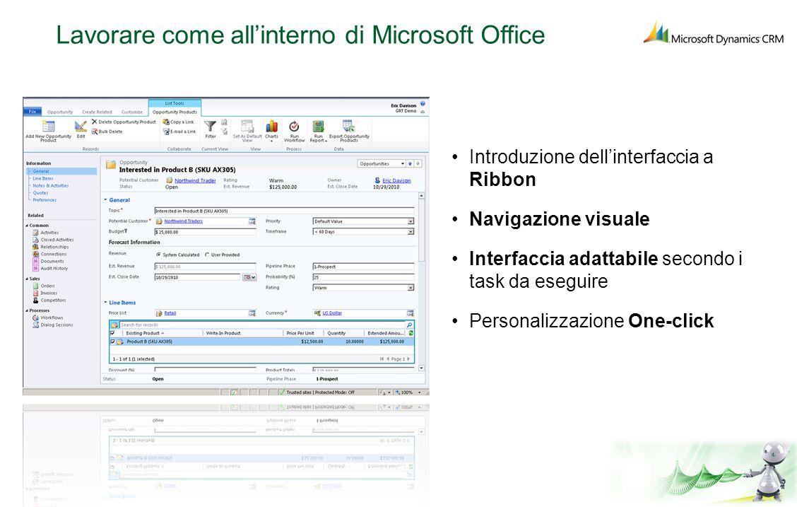 Lavorare come allinterno di Microsoft Office Introduzione dellinterfaccia a Ribbon Navigazione visuale Interfaccia adattabile secondo i task da esegui