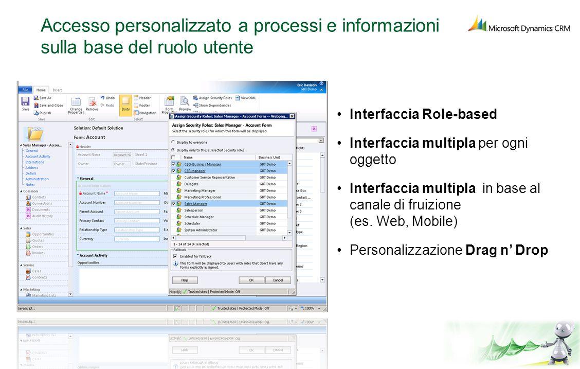 Accesso personalizzato a processi e informazioni sulla base del ruolo utente Interfaccia Role-based Interfaccia multipla per ogni oggetto Interfaccia