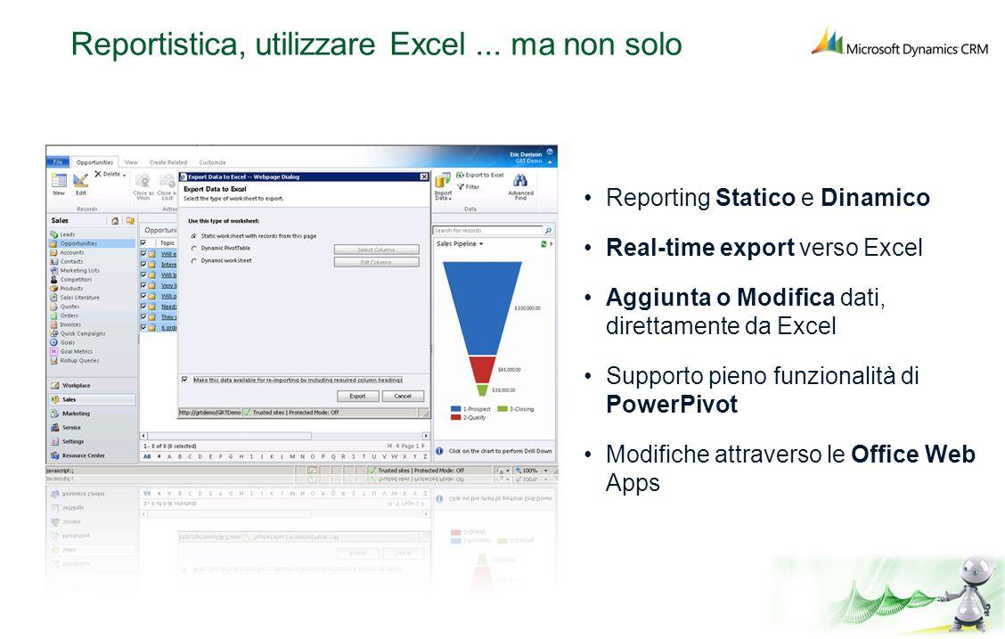 Reportistica, utilizzare Excel... ma non solo Reporting Statico e Dinamico Real-time export verso Excel Aggiunta o Modifica dati, direttamente da Exce