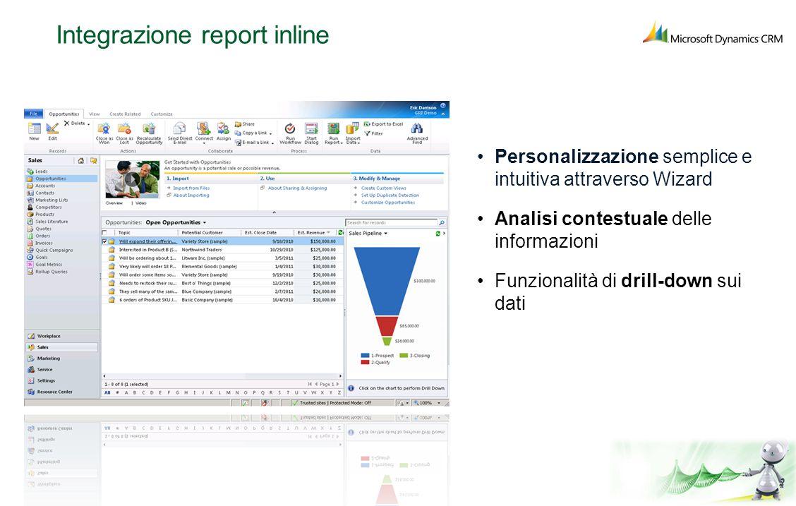 Integrazione report inline Personalizzazione semplice e intuitiva attraverso Wizard Analisi contestuale delle informazioni Funzionalità di drill-down