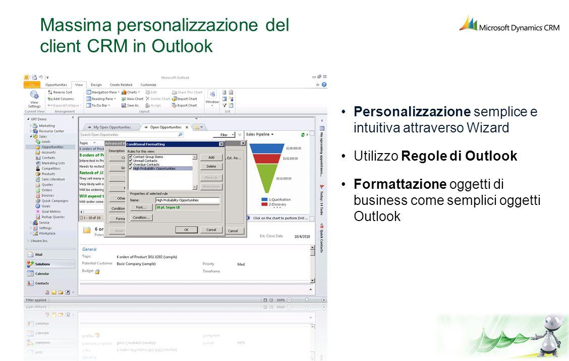 Massima personalizzazione del client CRM in Outlook Personalizzazione semplice e intuitiva attraverso Wizard Utilizzo Regole di Outlook Formattazione