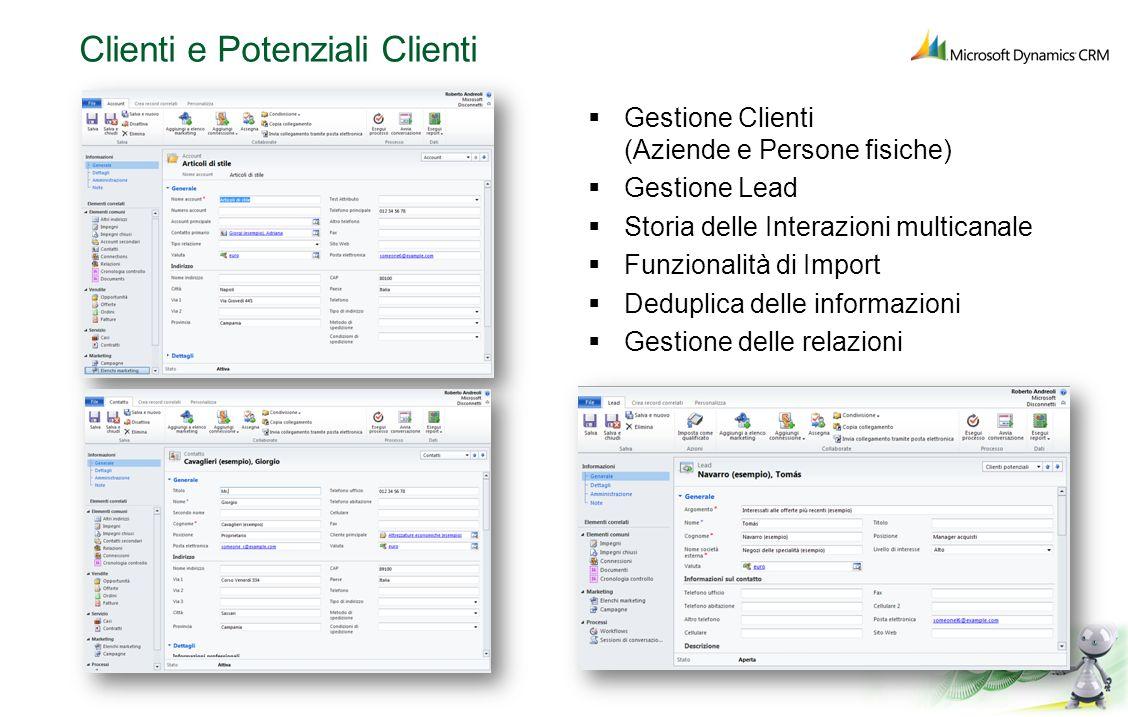 Clienti e Potenziali Clienti Gestione Clienti (Aziende e Persone fisiche) Gestione Lead Storia delle Interazioni multicanale Funzionalità di Import De