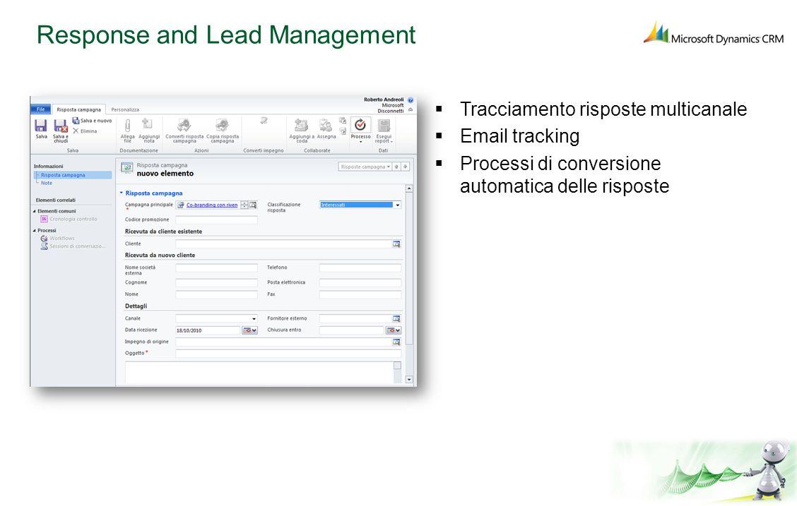 Response and Lead Management Tracciamento risposte multicanale Email tracking Processi di conversione automatica delle risposte
