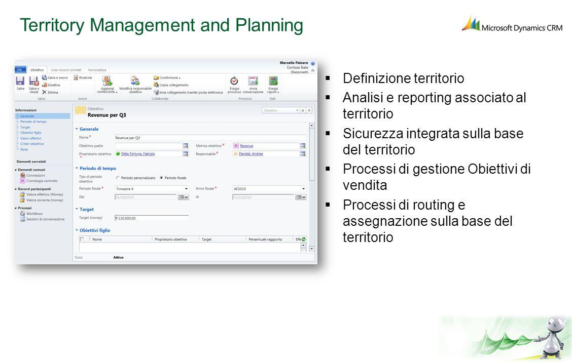 Territory Management and Planning Definizione territorio Analisi e reporting associato al territorio Sicurezza integrata sulla base del territorio Pro