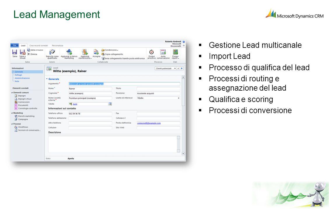 Lead Management Gestione Lead multicanale Import Lead Processo di qualifica del lead Processi di routing e assegnazione del lead Qualifica e scoring P