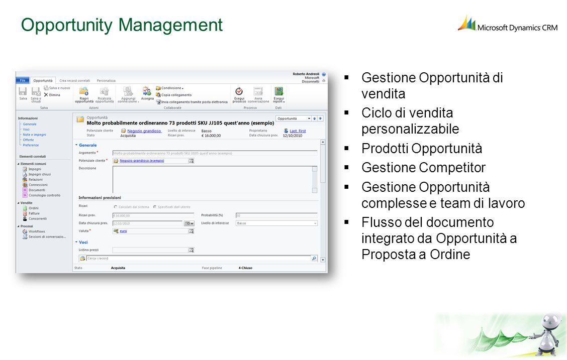 Opportunity Management Gestione Opportunità di vendita Ciclo di vendita personalizzabile Prodotti Opportunità Gestione Competitor Gestione Opportunità